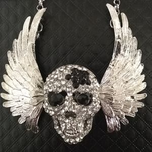 Betsey Johnson vampire skull with movable wings
